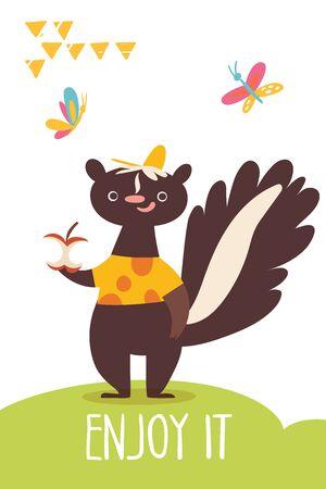 Vector funny cartoon hand drawn enjoy it card with skunk