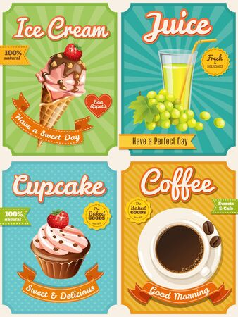 Four high detailed food posters with summer food Ilustracja