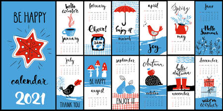 Modern style hand drawn cartoon vector 2021 calendar with hand drawn inky monthly symbols