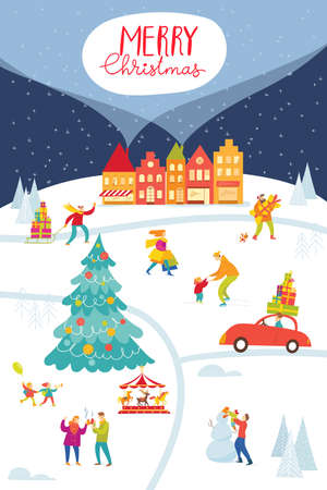 Christmas Market poster with city and people doing winter activities.