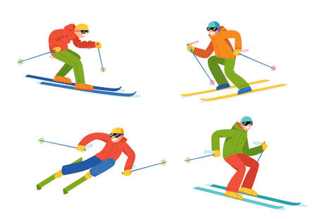 People doing winter sports in flat vector style.