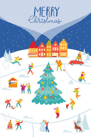 Christmas Market poster with city map and people doing winter activities. 일러스트