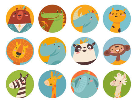 Big vector set of cute cartoon animals faces in flat style 矢量图像