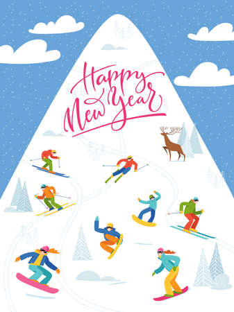 Ski resort card or poster with people doing winter sports.