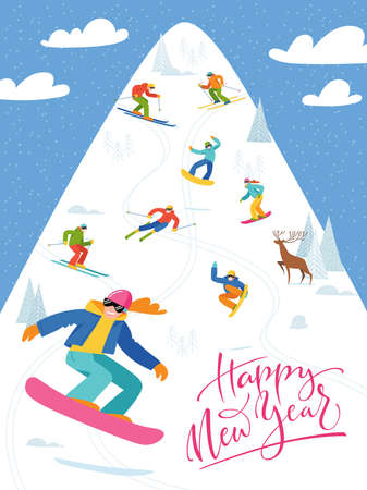 Ski resort poster with people doing winter sports.