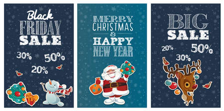 Black Friday Holiday sale posters with cute cartoon characters and lettering