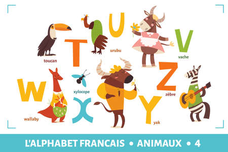 French language alphabet poster with cartoon animals