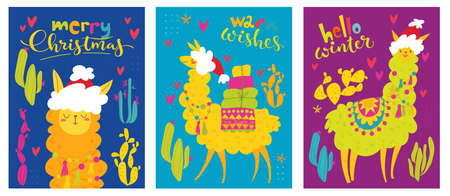 Christmas posters with alpaca or lama characters and wishes.