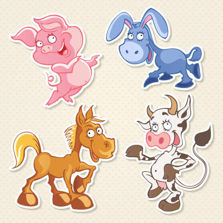 Vector farm animals cartoon characters in funny style Illustration
