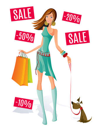 Happy shopping woman vector illustration with sale tags.