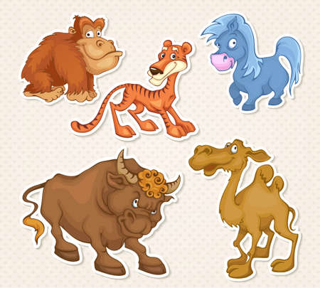 Vector animals cartoon characters in cool Sticker designs Illustration
