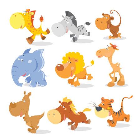 Vector running animals in cool cartoon style Illustration