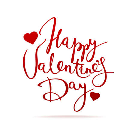 Valentine day card with lettering and heart shape.