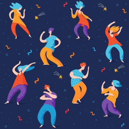 Dancing people in night seamless pattern in modern pop art style