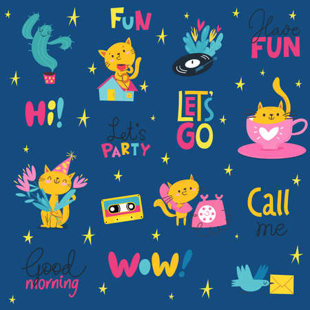 Seamless modern style background for textile or paer in cute pop art style. Illustration