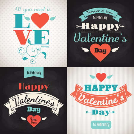 Valentines day posters with cute heart and lettering Illustration