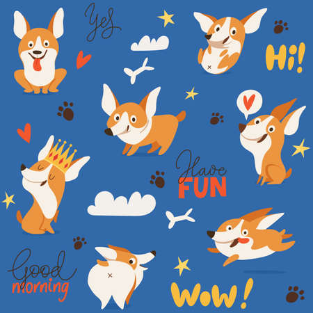 Seamless background with cute corgi dog images for textile or any prints