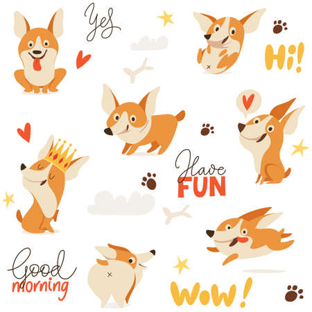Seamless background with cute welsh corgi dog images for textile or any prints Illustration