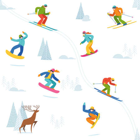 Seamless background with winter sport acivities people