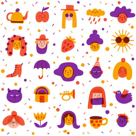 Seamless background with cute portraits, avatars and symbols for textile in cute doodle art style