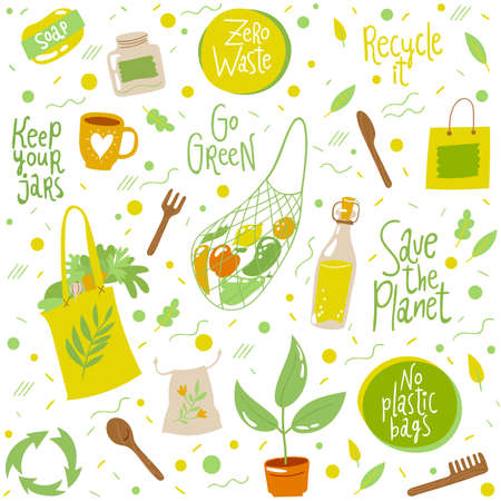 Seamless pattern background with ecological symbols and lettering Illustration