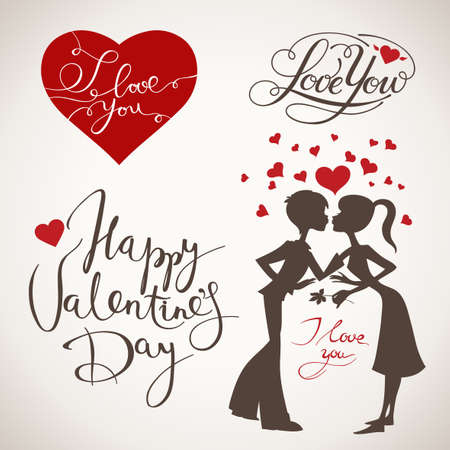 Vintage Valentines day heart, lettering and couple in love elements.