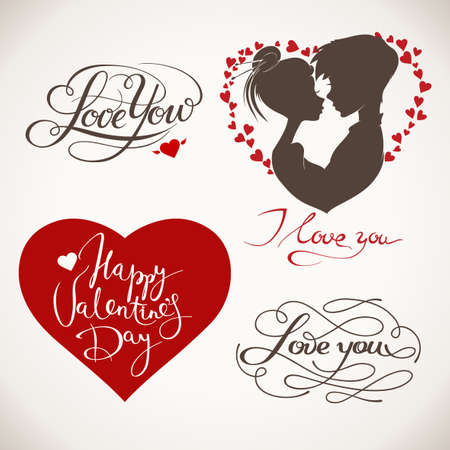 Valentines day heart, lettering and couple in love design elements. Illustration