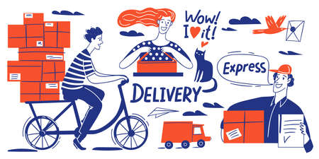Delivery business doodle style infographic design vector set Illustration
