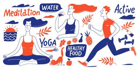 Healthy lifestyle vector design with people, elements and lettering