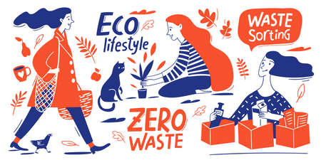 Eco lifestyle motivational vector design with zero waste doodle elements and lettering