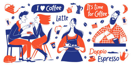 Coffee motivational vector design with barista and coffee elements and lettering