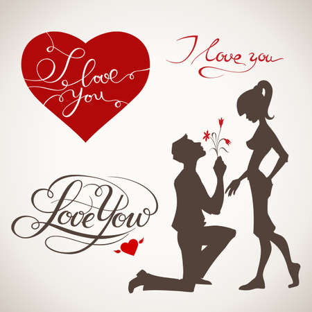 Valentines day heart, lettering and couple in love elements.