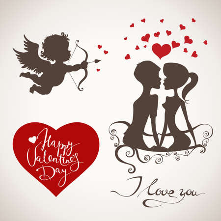 Valentines day angel, heart, lettering and couple in love elements. Illustration