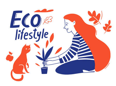 Eco lifestyle motivational vector design with woman plant a flower