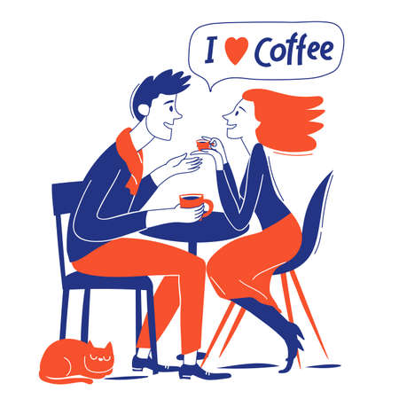 I love coffee motivational vector card couole in love and coffee