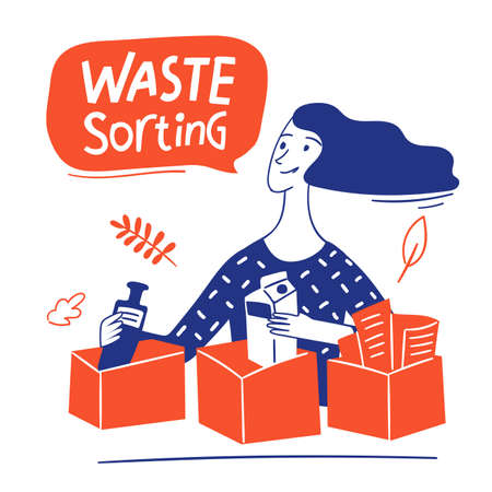 Eco lifestyle motivational vector design with waste sorting text and woman Illustration