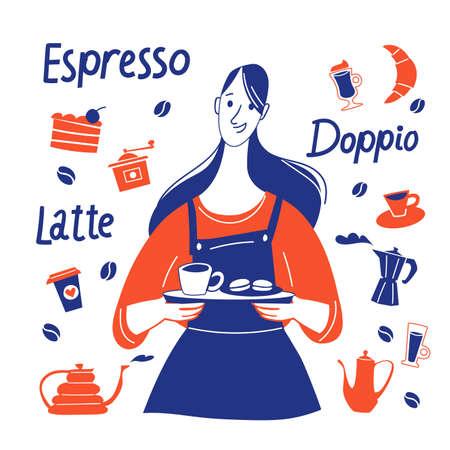 Espresso motivational vector design with barista and coffee stuff