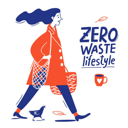 Eco lifestyle motivational vector design with zero waste text and woman Illustration