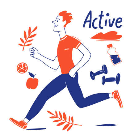 Active lifestyle motivational vector design with running man Illustration
