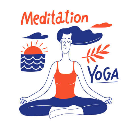 Healthy lifestyle motivational vector design with yoga woman Illustration