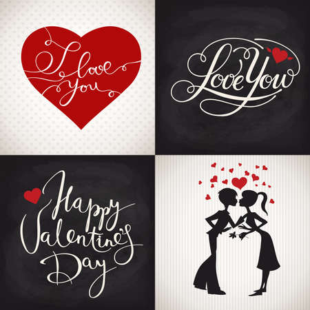 Valentines day posters with cute heart and lettering and silhouettes