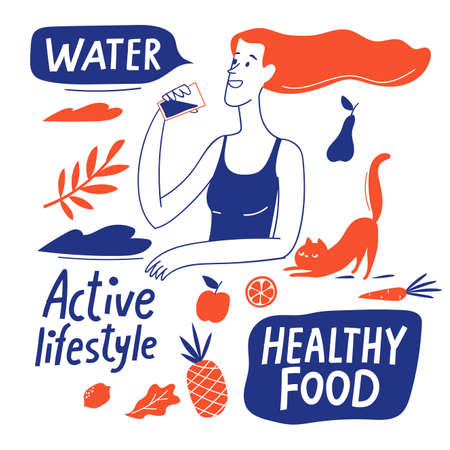 Healthy lifestyle motivational vector design with healthy food elements and woman. Illustration