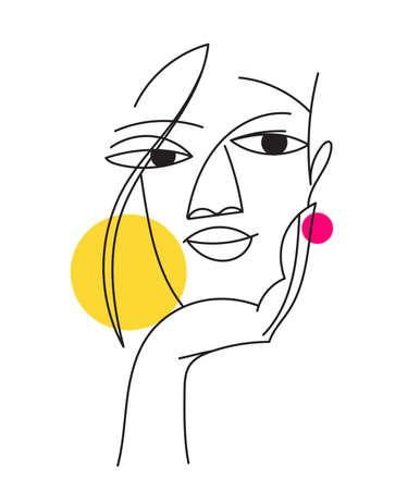 Abstract modern style line art woman portrait design.