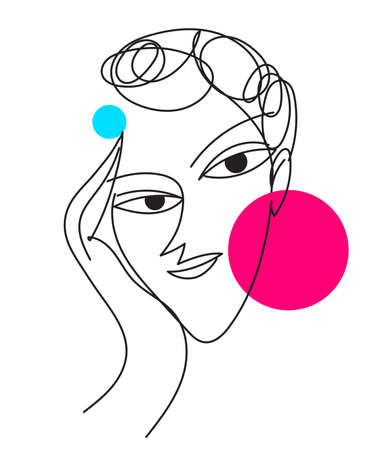 Abstract modern style line art woman portrait design. Vektorgrafik