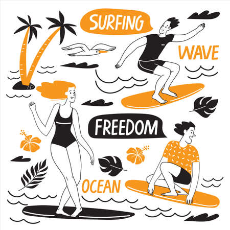Surfing motivational vector design with people, ocen elements and lettering