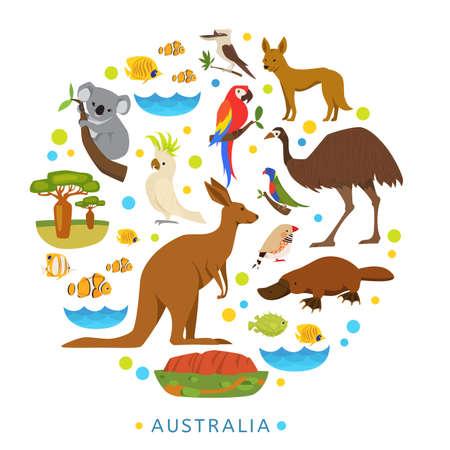 Birds and animals of Australia in round design.