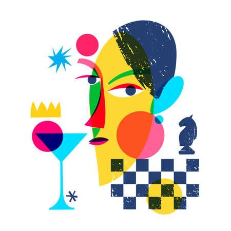 Chess abstract modern style line art woman portrait design.