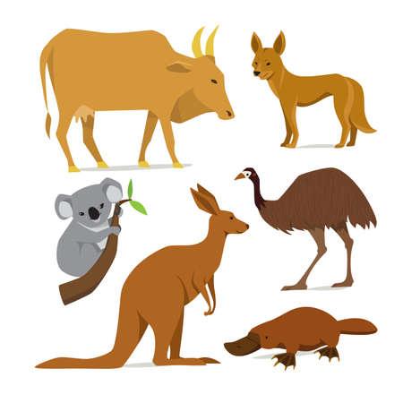 Big set of mammal animals of Australia in flat style Illustration