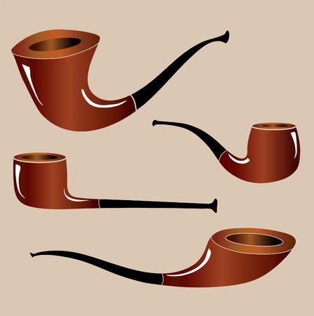 pijp roken: Vier verschillende vormen van pijpen. Vector