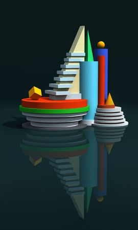 Architectural abstract 3d model composition. Stock Photo - 5305797